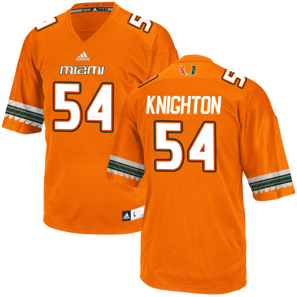 Youth Hunter Knighton Miami Hurricanes Replica Orange adidas Jersey