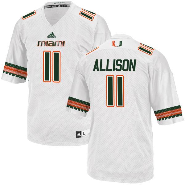 Men's Jack Allison Miami Hurricanes Replica White adidas Jersey