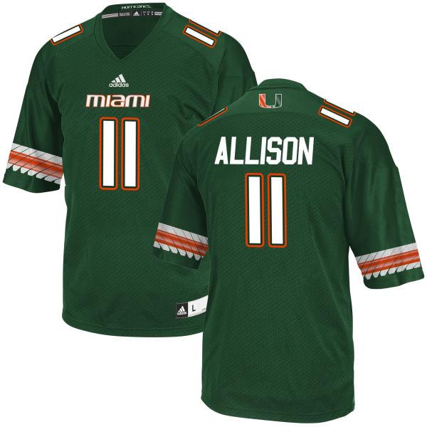 Men's Jack Allison Miami Hurricanes Authentic Green adidas Jersey