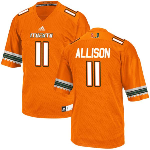 Men's Jack Allison Miami Hurricanes Authentic Orange adidas Jersey