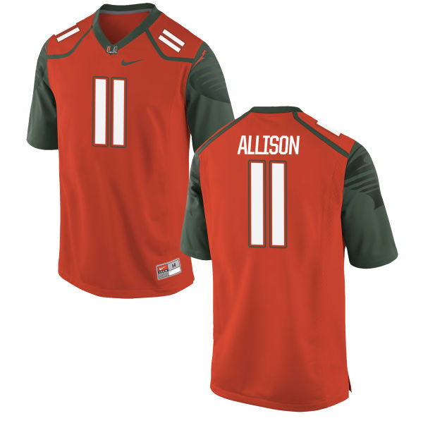Men's Nike Jack Allison Miami Hurricanes Game Orange Football Jersey
