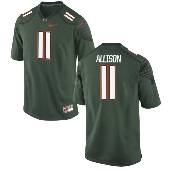 Men's Nike Jack Allison Miami Hurricanes Game Green Alternate Jersey