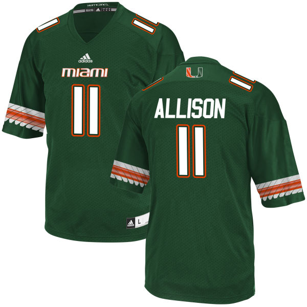Men's Jack Allison Miami Hurricanes Game Green adidas Jersey