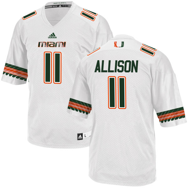 Men's Jack Allison Miami Hurricanes Game White adidas Jersey
