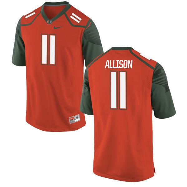 Youth Nike Jack Allison Miami Hurricanes Replica Orange Football Jersey