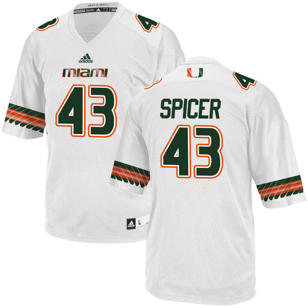 Men's Jack Spicer Miami Hurricanes Authentic White adidas Jersey