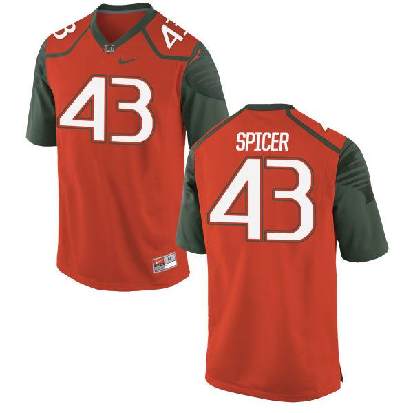 Men's Nike Jack Spicer Miami Hurricanes Game Orange Football Jersey