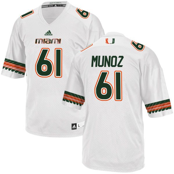 Men's Jacob Munoz Miami Hurricanes Replica White adidas Jersey