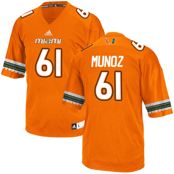 Men's Jacob Munoz Miami Hurricanes Authentic Orange adidas Jersey
