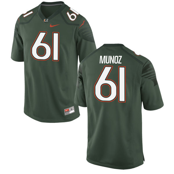 Men's Nike Jacob Munoz Miami Hurricanes Game Green Alternate Jersey