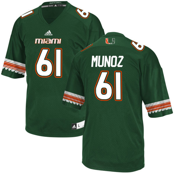Men's Jacob Munoz Miami Hurricanes Game Green adidas Jersey