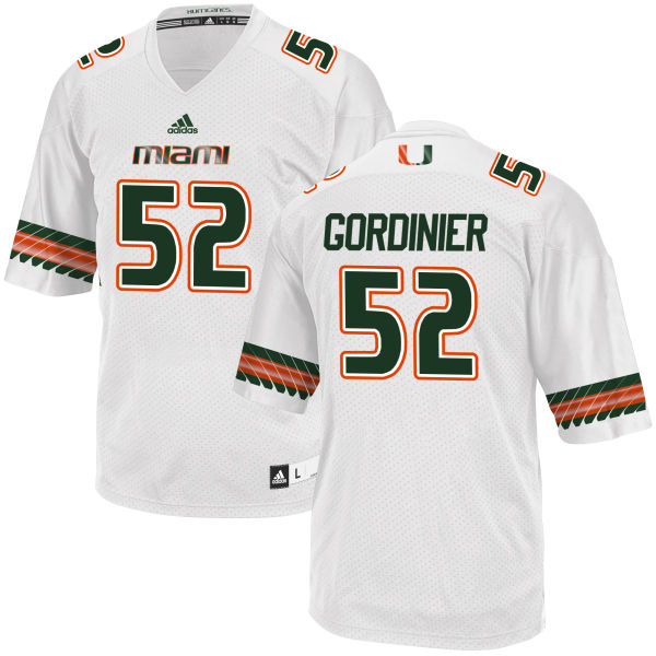 Men's Jamie Gordinier Miami Hurricanes Game White adidas Jersey