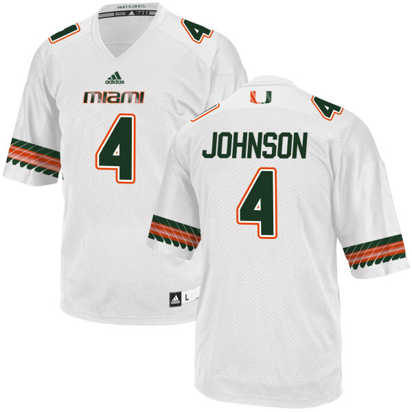 Men's Jaquan Johnson Miami Hurricanes Replica White adidas Jersey