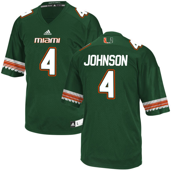 Men's Jaquan Johnson Miami Hurricanes Game Green adidas Jersey