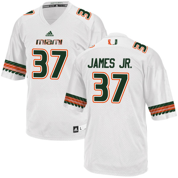 Men's Jeff James Jr. Miami Hurricanes Replica White adidas Jersey