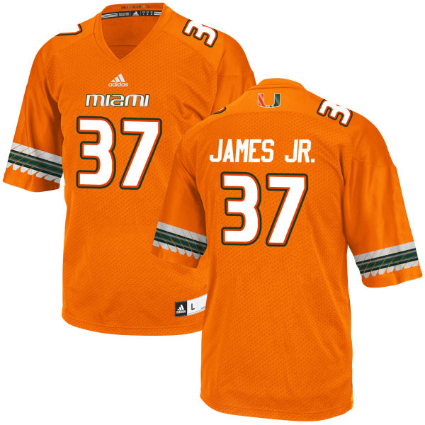 Men's Jeff James Jr. Miami Hurricanes Game Orange adidas Jersey