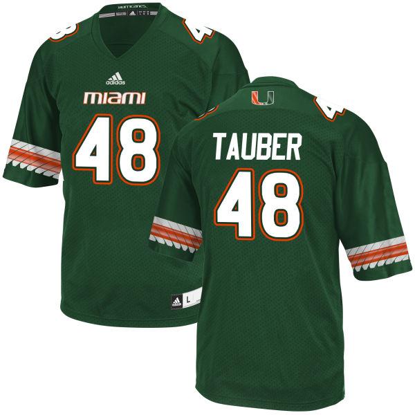 Men's John Tauber Miami Hurricanes Game Green adidas Jersey