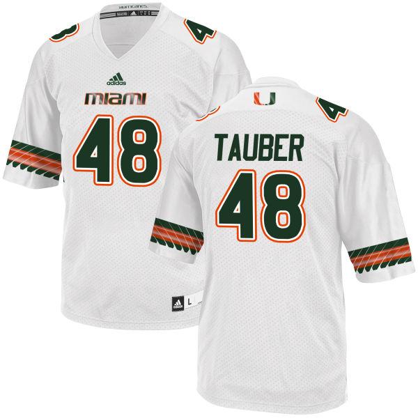 Men's John Tauber Miami Hurricanes Game White adidas Jersey