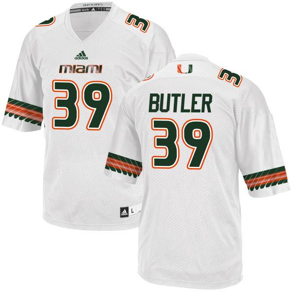 Men's Jordan Butler Miami Hurricanes Replica White adidas Jersey