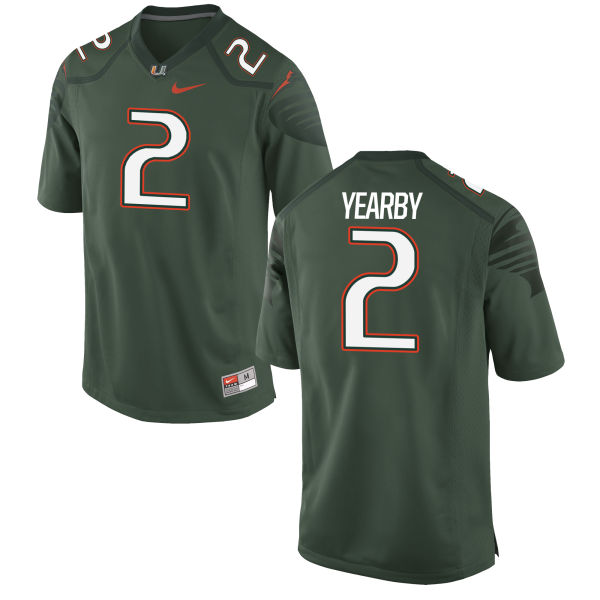Men's Nike Joseph Yearby Miami Hurricanes Game Green Alternate Jersey