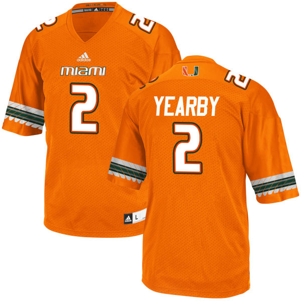 Men's Joseph Yearby Miami Hurricanes Game Orange adidas Jersey