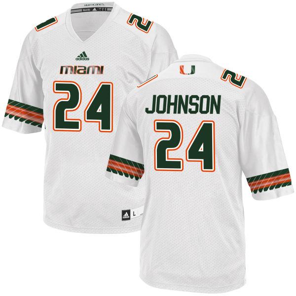 Men's Josh Johnson Miami Hurricanes Replica White adidas Jersey