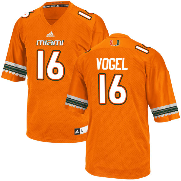 Men's Justin Vogel Miami Hurricanes Replica Orange adidas Jersey