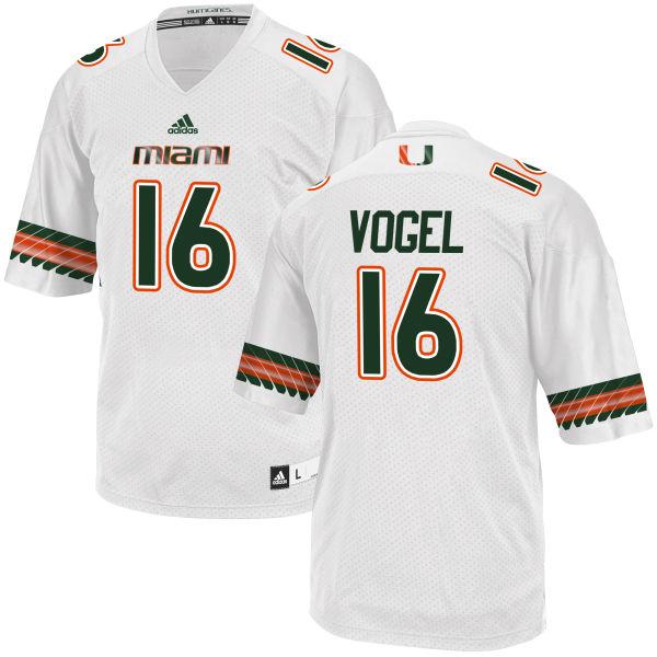 Men's Justin Vogel Miami Hurricanes Replica White adidas Jersey