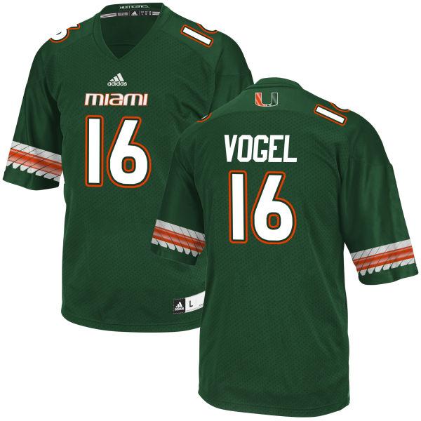 Men's Justin Vogel Miami Hurricanes Game Green adidas Jersey