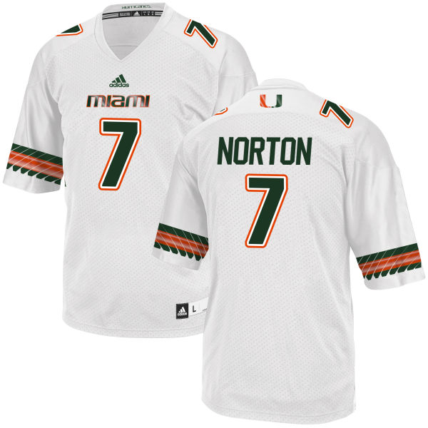 Men's Kendrick Norton Miami Hurricanes Replica White adidas Jersey