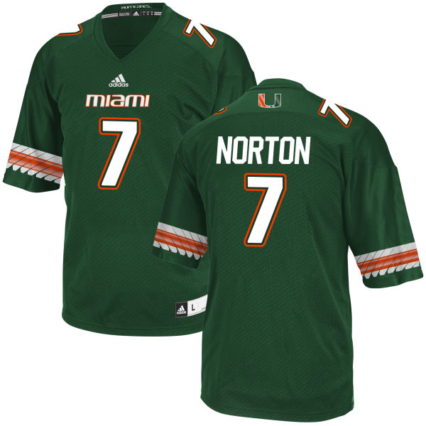 Men's Kendrick Norton Miami Hurricanes Game Green adidas Jersey