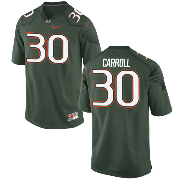 Men's Nike Kevin Carroll Miami Hurricanes Authentic Green Alternate Jersey