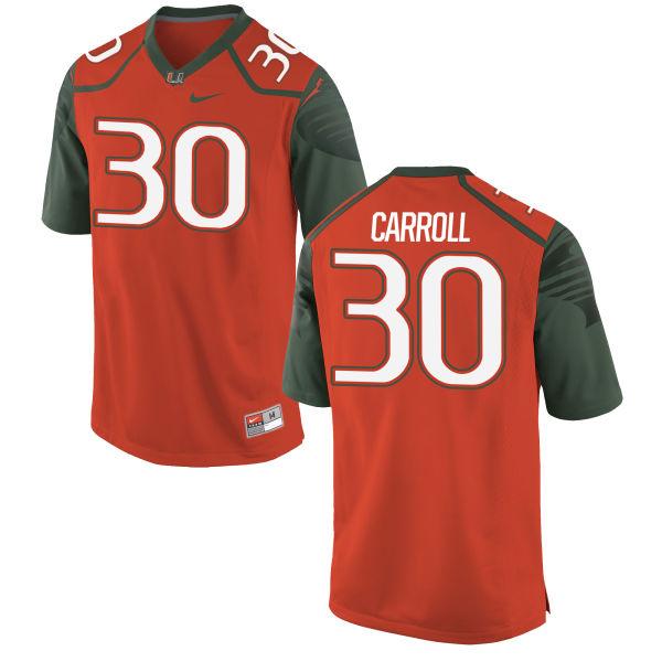 Men's Nike Kevin Carroll Miami Hurricanes Game Orange Football Jersey