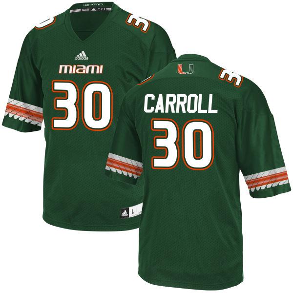 Men's Kevin Carroll Miami Hurricanes Game Green adidas Jersey