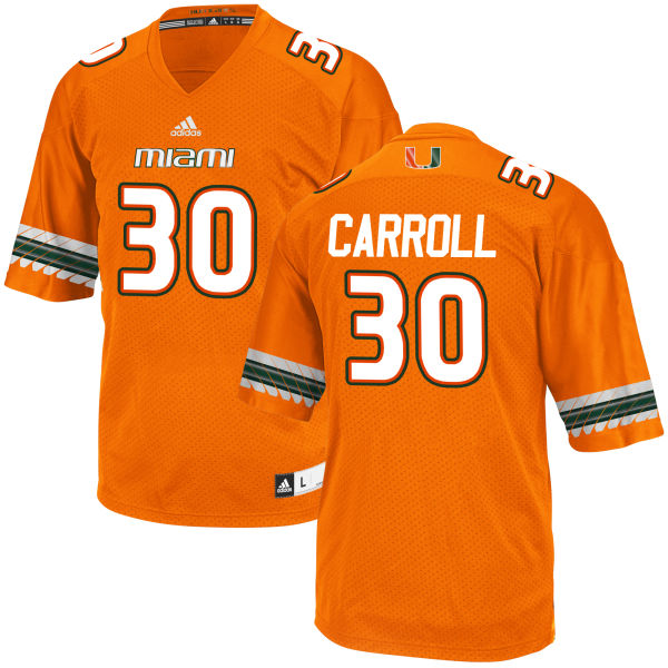 Men's Kevin Carroll Miami Hurricanes Game Orange adidas Jersey