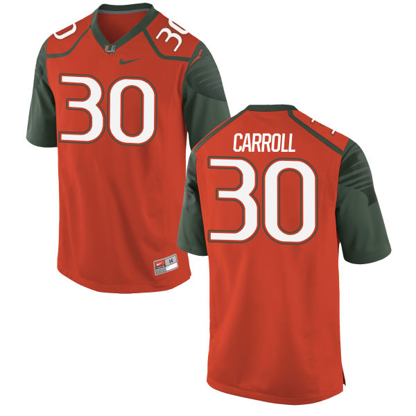 Youth Nike Kevin Carroll Miami Hurricanes Replica Orange Football Jersey