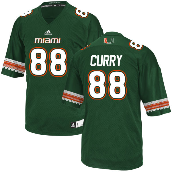 Men's Malik Curry Miami Hurricanes Game Green adidas Jersey