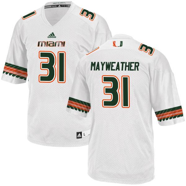 Men's Malik Mayweather Miami Hurricanes Replica White adidas Jersey