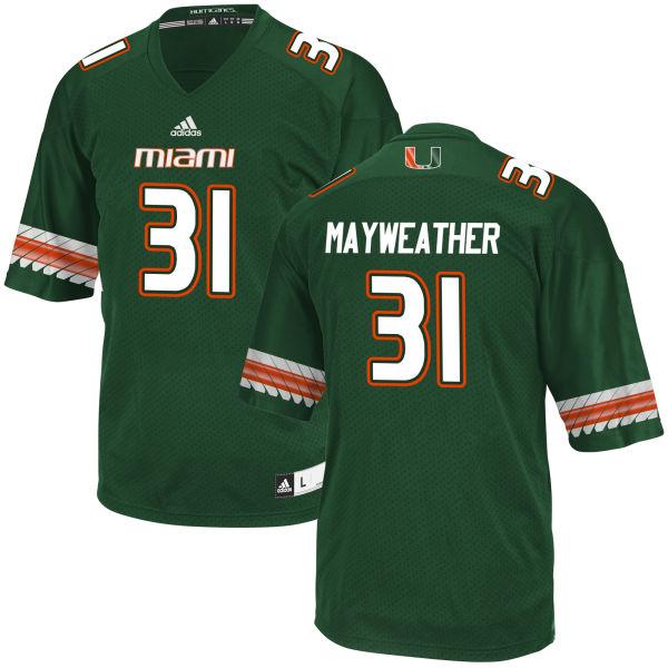 Men's Malik Mayweather Miami Hurricanes Game Green adidas Jersey
