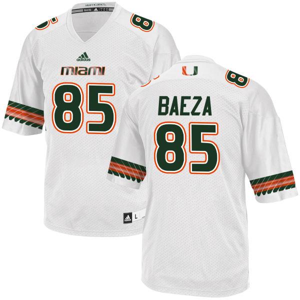 Men's Marco Baeza Miami Hurricanes Replica White adidas Jersey