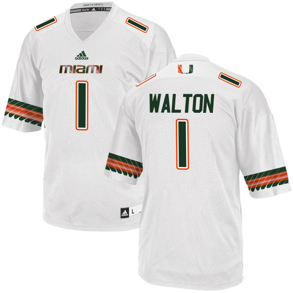 Men's Mark Walton Miami Hurricanes Replica White adidas Jersey