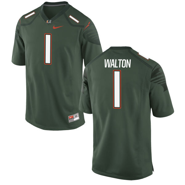 Men's Nike Mark Walton Miami Hurricanes Authentic Green Alternate Jersey