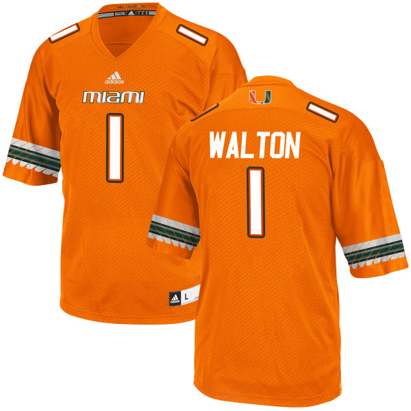 Men's Mark Walton Miami Hurricanes Game Orange adidas Jersey