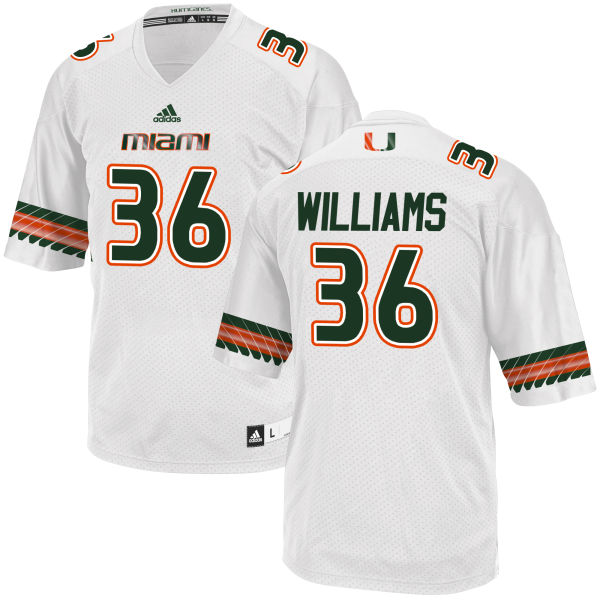 Men's Marquez Williams Miami Hurricanes Replica White adidas Jersey