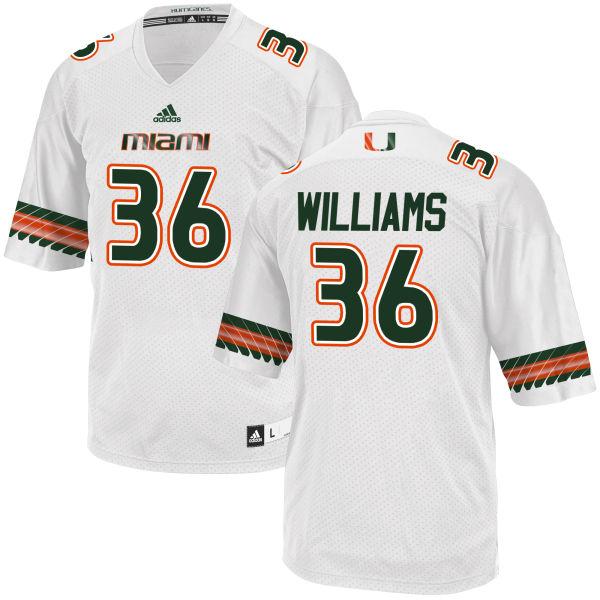 Men's Marquez Williams Miami Hurricanes Game White adidas Jersey