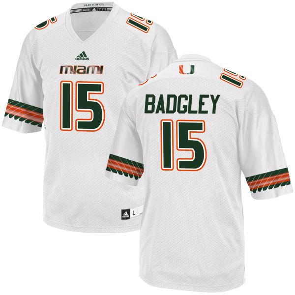 Men's Michael Badgley Miami Hurricanes Replica White adidas Jersey