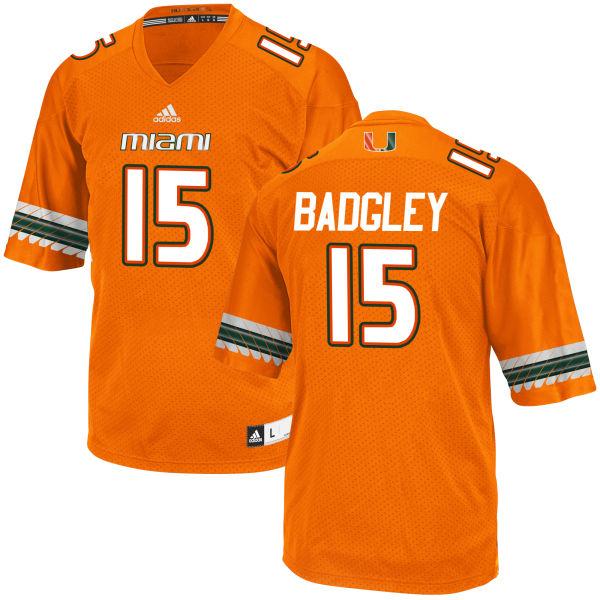 Men's Michael Badgley Miami Hurricanes Authentic Orange adidas Jersey
