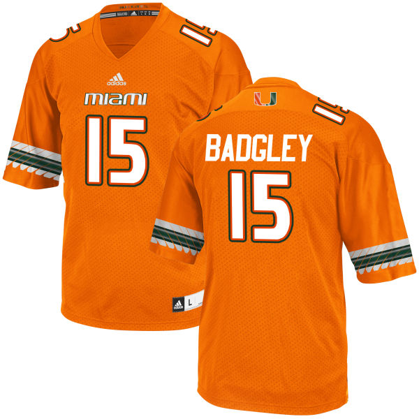 Men's Michael Badgley Miami Hurricanes Game Orange adidas Jersey