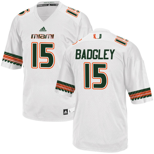 Men's Michael Badgley Miami Hurricanes Game White adidas Jersey
