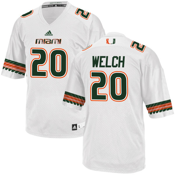Men's Michael Welch Miami Hurricanes Replica White adidas Jersey